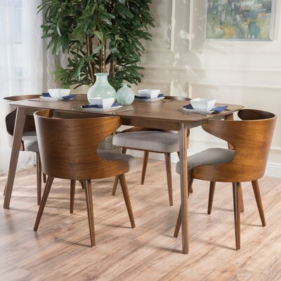 Camille 5 Piece Walnut Mid Century Dining Set Upholstery Color: Beige Gray