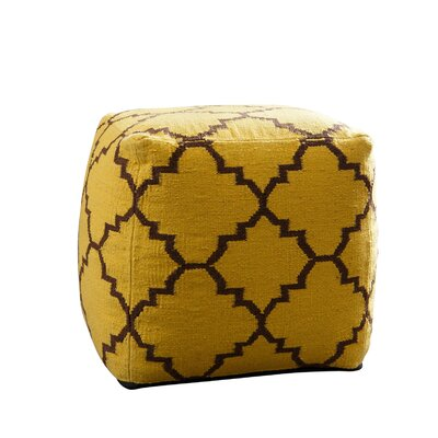 Palos Verdes Lattice Square Pouf Ottoman Upholstery: Yellow