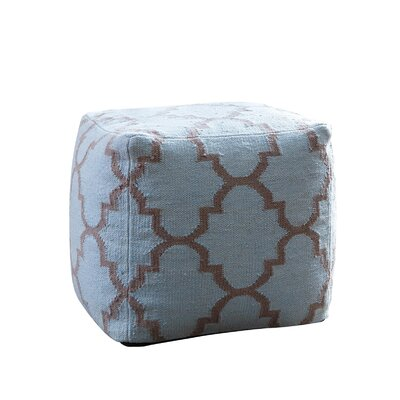 Palos Verdes Lattice Square Pouf Ottoman Upholstery: Light Blue