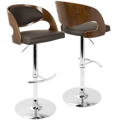 Lanesboro Adjustable Height Swivel Bar Stool Upholstery: Brown
