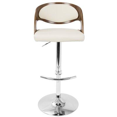 Lanesboro Adjustable Height Swivel Bar Stool Upholstery: Cream