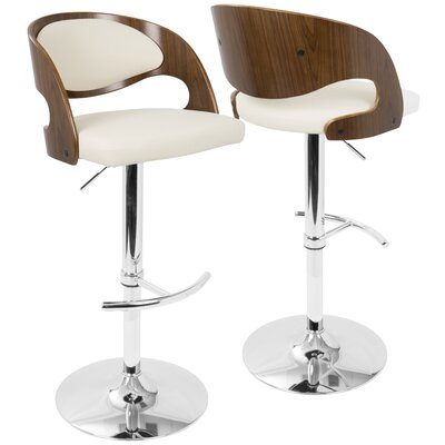 Lanesboro Adjustable Height Swivel Bar Stool Upholstery: Cream