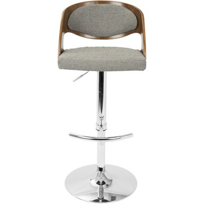 Lanesboro Adjustable Height Swivel Bar Stool Upholstery: Gray