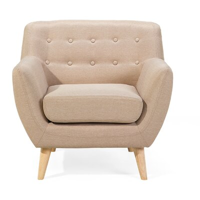 Poppy Tufted Living Room Arm Chair Upholstery: Beige