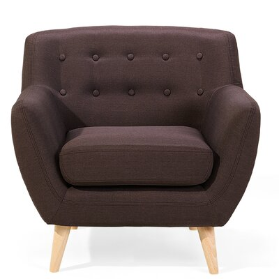 Poppy Tufted Living Room Arm Chair Upholstery: Chocolate
