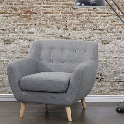 Poppy Tufted Living Room Arm Chair Upholstery: Light Gray