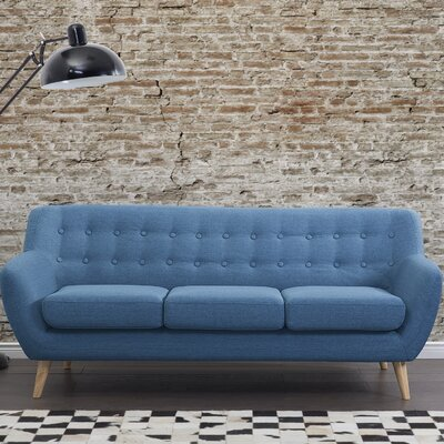 Poppy Tufted 3 Seat Sofa Upholstery: Blue