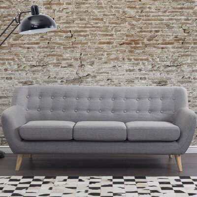 Poppy Tufted 3 Seat Sofa Upholstery: Light Gray