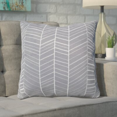Asther Embroidered Cotton Pillow Color: Gray