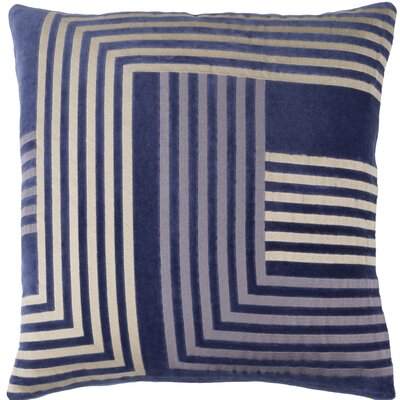 Sandrine Cotton Throw Pillow Size: 20 H x 20 W x 4 D, Color: Navy / Beige / Gray