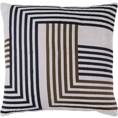 Sandrine Cotton Throw Pillow Color: Light Gray / Dark Brown / Navy, Size: 20 H x 20 W x 4 D