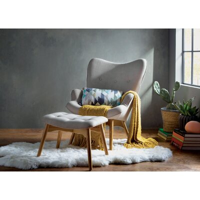 Ali  Wingback Chair and Ottoman Upholstery: Light Gray