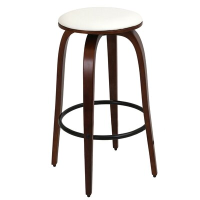 Eamor 30 Swivel Bar Stool Finish: Cherry, Upholstery: White