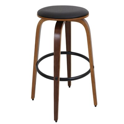 Eamor 30 Swivel Bar Stool Finish: Walnut, Upholstery: Brown
