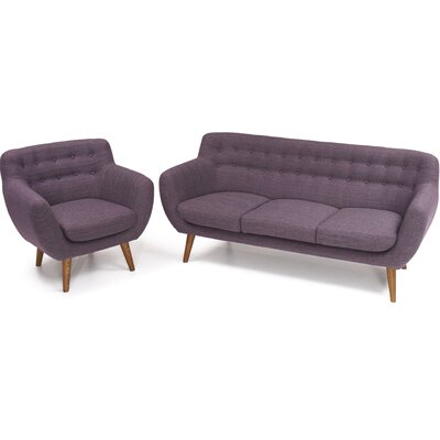Martinique 2 Piece Sofa and Arm Chair Set Upholstery: Purple