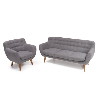 Martinique 2 Piece Living Room Set Upholstery: Steel Gray