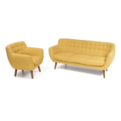 Martinique 2 Piece Sofa and Arm Chair Set Upholstery: Sunset Yellow