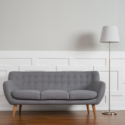 Martinique Tufted Sofa Upholstery: Steel