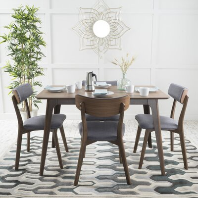 McQueen 5 Piece Dining Set Table Finish: Natural Walnut, Chair Finish: Dark Gray