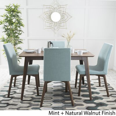 Dougal 5 Piece Dining Set Table Finish: Natural Walnut, Chair Finish: Mint