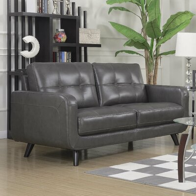 Basilica Leather Loveseat Color: Charcoal