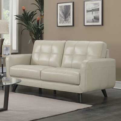 Basilica Leather Loveseat Upholstery: Cream