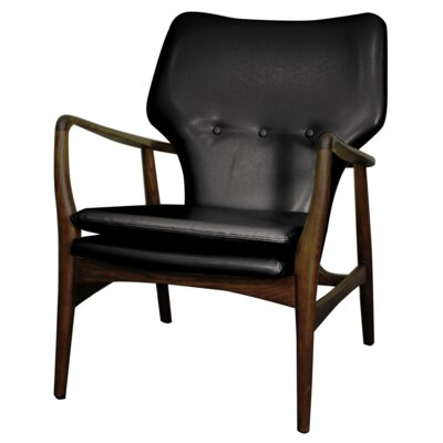 Rosanna Bonded Leather Armchair Color: Black