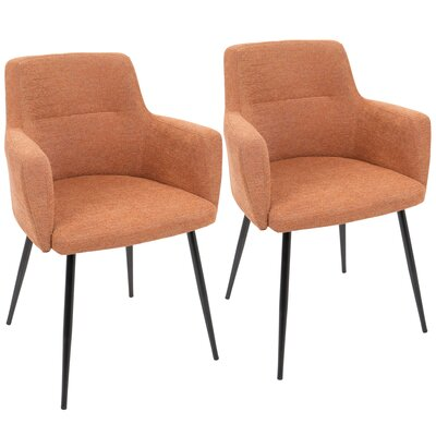 Alfie Upholstered Dining Chair Color: Orange