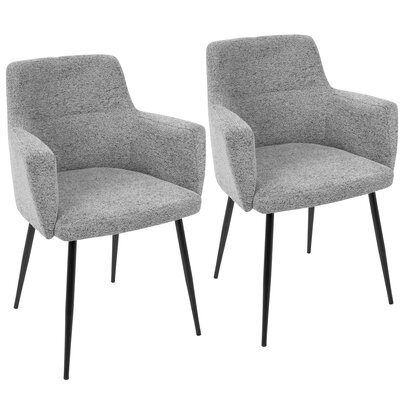 Alfie Upholstered Dining Chair Color: Black / Grey