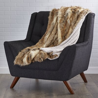 Lochian Faux Fur Lounge Throw Color: Amber Fox, Size: 60 L x 58 W