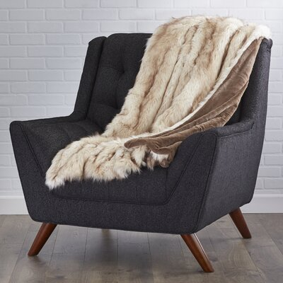 Abbottstown Faux Fur Lounge Throw Color: Champagne Fox, Size: 60 L x 58 W