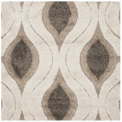 Fulton Cream/Smoke Shag Area Rug Rug Size: Square 4