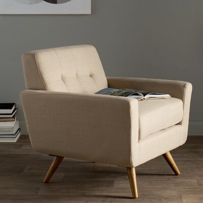 Drumagrove Leyla Fabric Arm Chair Upholstery: Ivory