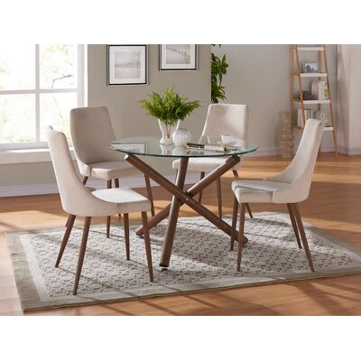 Helsdon 5 Piece Dining Set Upholstery Color: Beige