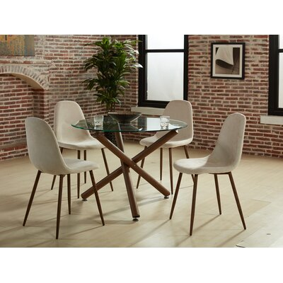 Chander 5 Piece Dining Set Upholstery Color: Beige