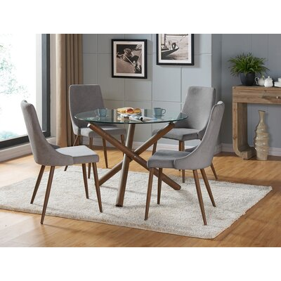 Helsdon 5 Piece Dining Set Upholstery Color: Gray