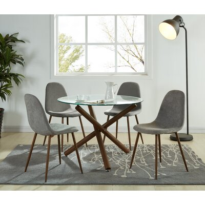 Chander 5 Piece Dining Set Upholstery Color: Gray