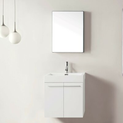 Frausto 23.2 Single Bathroom Vanity Set with White Top and Mirror Base Finish: Plum, Faucet Finish: Brushed Nickel