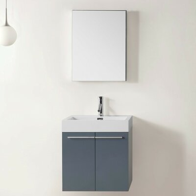 Frausto 23.2 Single Bathroom Vanity Set with White Top and Mirror Base Finish: Gray, Faucet Finish: Polished Chrome