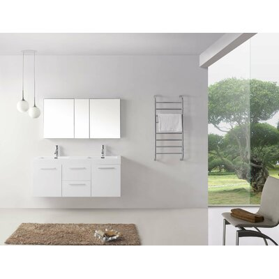 Cartagena 54 Double Floating Bathroom Vanity Set with White Top