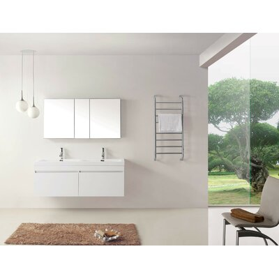 Cartagena Modern 55 Double Bathroom Vanity Set with White Top