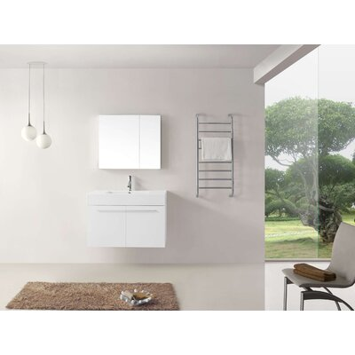 Frausto 36 Single Bathroom Vanity Set with White Top and Medicine Cabinet