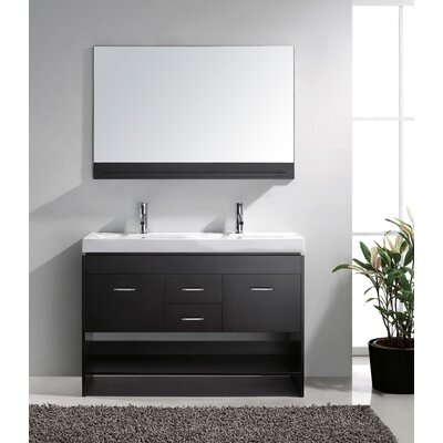 Frausto 48 Double Bathroom Vanity Set with White Top and Mirror