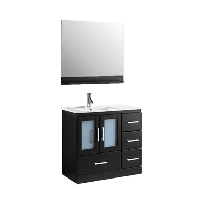 Cartagena 36 Single Bathroom Vanity Set with White Top and Mirror