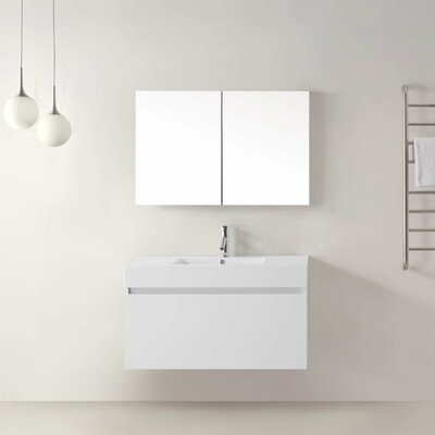 Frausto 39 Single Bathroom Vanity Set with White Top and Mirror Base Finish: Gray, Faucet Finish: Brushed Nickel