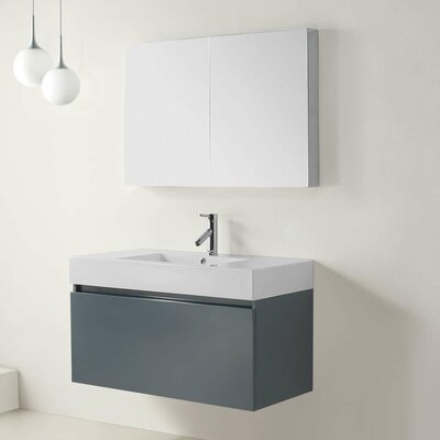 Frausto 39 Single Bathroom Vanity Set with White Top and Mirror Base Finish: Gray, Faucet Finish: Polished Chrome