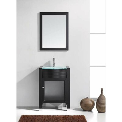 Blakes 24 Single Bathroom Vanity Set with Clear Top and Mirror Base Finish: Espresso, Faucet Finish: Polished Chrome