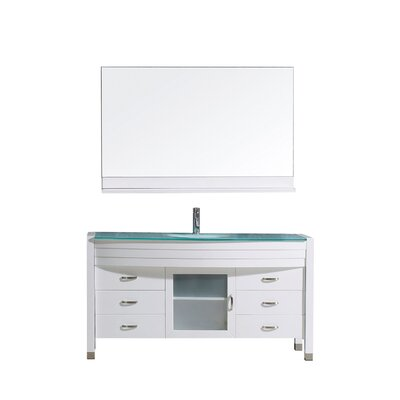 Frausto 55 Single Bathroom Vanity Set with Clear Top and Mirror Base Finish: White, Faucet Finish: Brushed Nickel