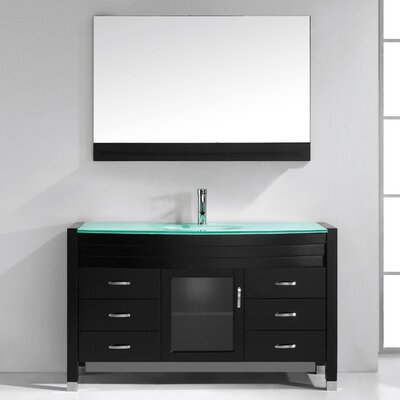 Carstarphen 55 Single Bathroom Vanity Set with Clear Top and Mirror Base Finish: Espresso, Faucet Finish: Polished Chrome