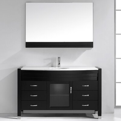 Carstarphen 55 Single Bathroom Vanity Set with White Top and Mirror Base Finish: White, Faucet Finish: Polished Chrome
